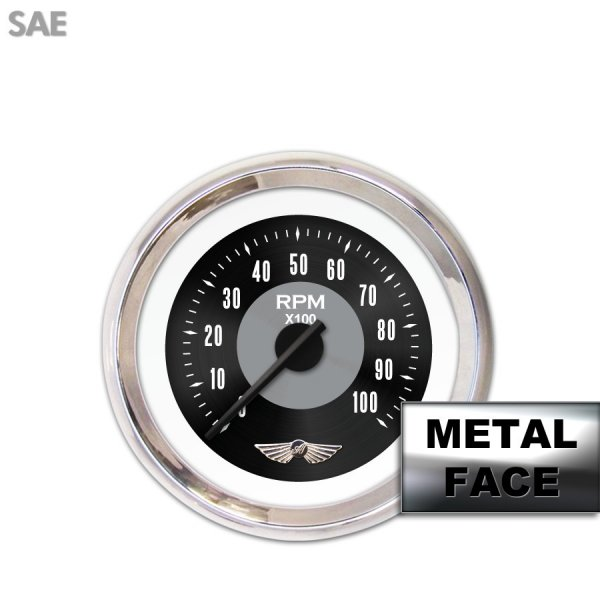 Aurora Instruments GAR22ZEAIABCC Tachometer Gauge with Emblem Tachometer Gauge with emblem - American Classic Black, Black Modern Needles, Chrome Trim Rings, Style Kit DIY Install