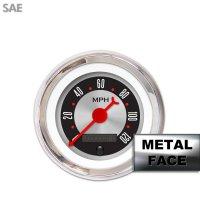 Red Ring Face, Red Classic Needles, Black Bezels Aurora Instruments 4047 American Retro Rodder Oil Pressure Gauge