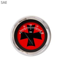 Aurora Instruments 1150 Competition Black SAE Volt Gauge Red Text, Red Vintage Needles, Chrome Trim Rings, Style Kit Installed